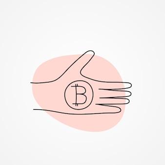 Bitcoin-token auf der hand - vektorillustration