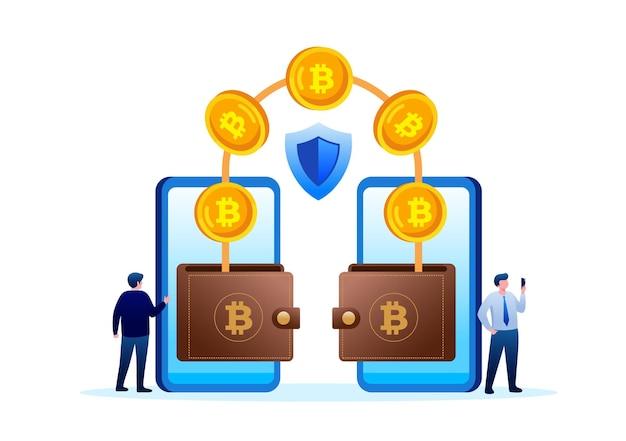 Bitcoin-transfer flachbild vector illustration banner