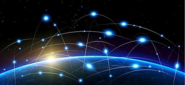 Bitcoin- und blockchain-technologie über dem planeten erde