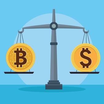Bitcoin und dollar im gleichgewicht cyber-geld-technologie-vektorillustrationsdesign
