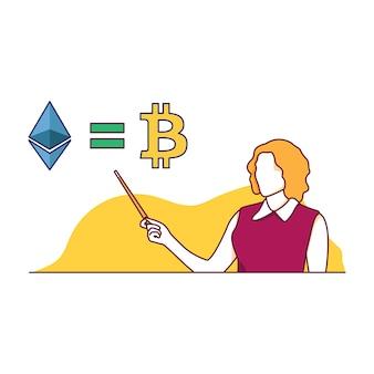 Bitcoin und ethereum gleicher illustrationsvektor lokalisiert