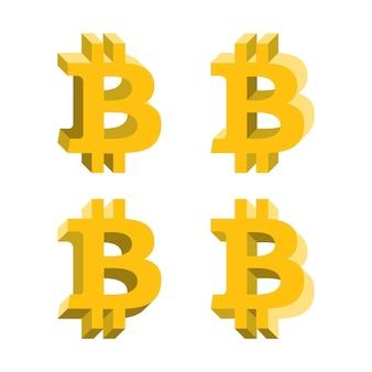 Bitcoin-volumenlogo, flache symbole mit verschiedenen seiten. netzwerkgeldsymbol