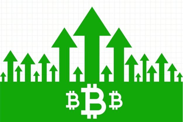 Bitcoin-wachstum nach oben grünes pfeilkonzept