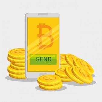 Bitcoin-währung im smartphone