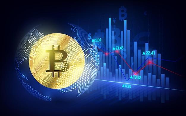 Bitcoin-währung. kryptomünze mit wachstumstabelle. internationale börse. netzwerk bitcoin marketing vektor banner.