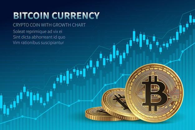 Bitcoin-währung. kryptomünze mit wachstumstabelle. internationale börse.