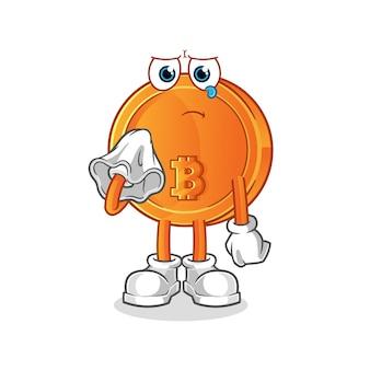 Bitcoin weinen mit einem papiertaschentuch