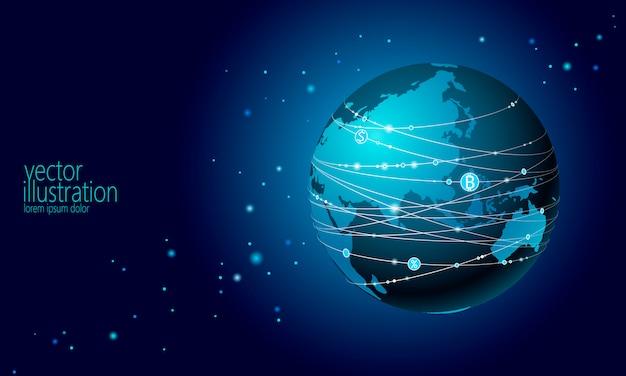 Bitcoin-zeichen der kryptowährung des planeten erde. online-internet-kommunikation bergbau hintergrund