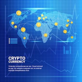 Bitcoins auf der weltkarte
