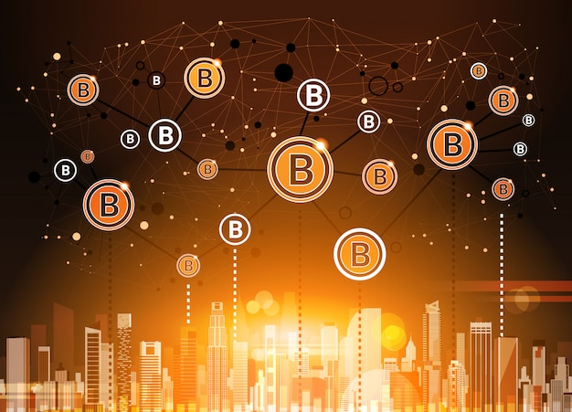 Bitcoins crypto currency über moderner stadt-hintergrund-digital-netz-geld-technologie
