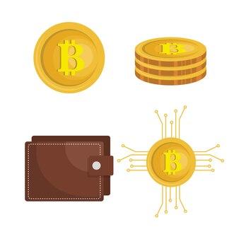Bitcoins, die flache ikonen handeln