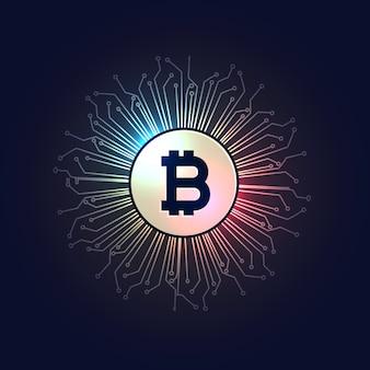 Bitcoins digitale währung technologie stil hintergrund