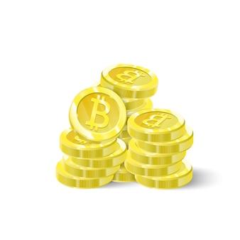 Bitcoins, ein stapel isolierungsmünzen. digitale zukunft kryptowährung, bergbau, elektronische zahlungen.