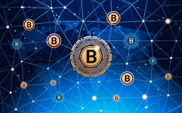 Bitcoins-geld-krypto-währungs-konzept-moderne netz-zahlungs-technologie-fahne
