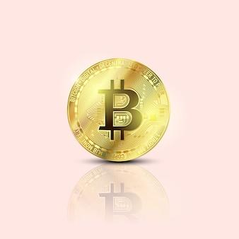 Bitcoins geld virtuelles währungskonzept. goldene bitcoin-münz-blockchain-technologie für kryptowährung. digitale geldwährung.