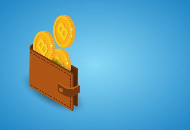 Bitcoins-geldbörse über blauem hintergrund-modernem netz-digital-geld-krypto-währungs-konzept