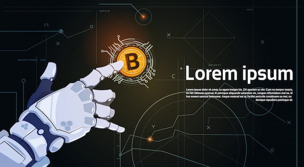 Bitcoins-krypto-währungs-konzept-roboter-hand, die goldene bit-münzen-digital-netz-geld-bergbautechnologie berührt