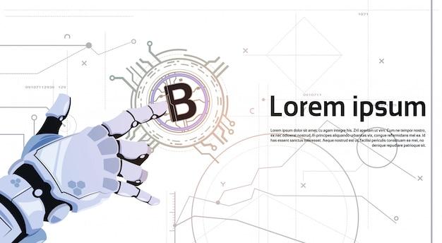 Bitcoins-krypto-währungs-konzept-roboter-hand, die goldenen bit-münzen-digital-netz-geld-bergbautechnologie-schablonen-hintergrund berührt