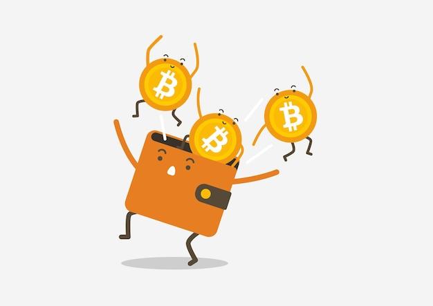 Bitcoins springen aus dem wallet. kryptowährung-cartoon-konzept.