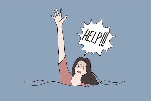 Bitten um hilfe und sos-konzept. junge frau cartoon-figur schwimmen im wasser ertrinken und um hilfe bitten schreien versuchen, aufmerksamkeit vektor-illustration zu bekommen