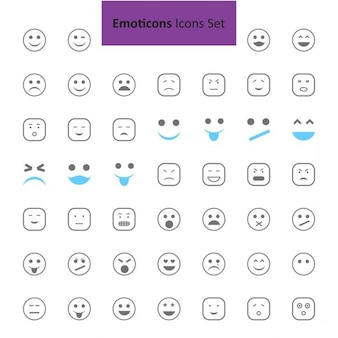 Black and Blue Emoji-Symbole Satz