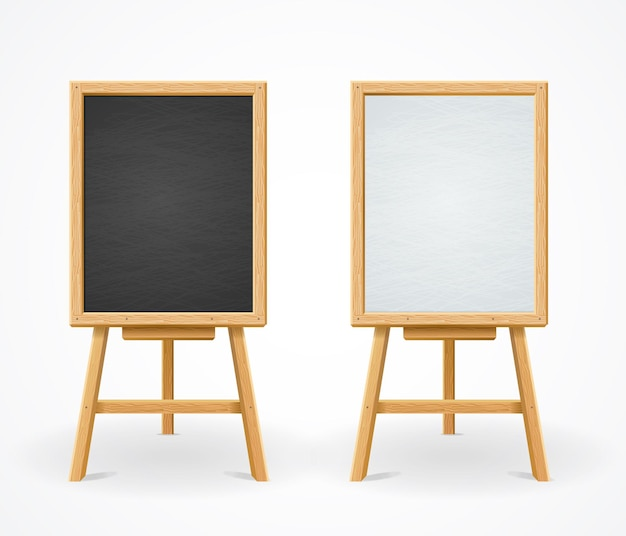 Black board und white set on easel, menü im restaurant