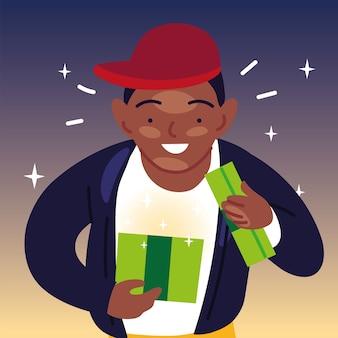 Black boy cartoon eröffnungsgeschenk, alles gute zum geburtstag feier dekoration party festlich und überraschungsthema illustration