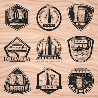 Black brewery labels set