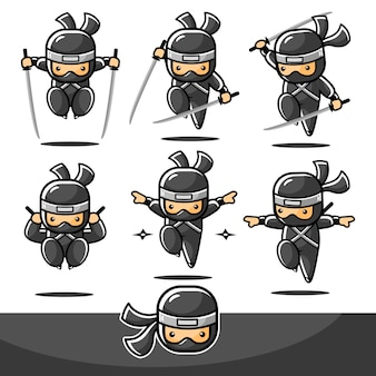 Black cartoon ninja jump sets mit sechs verschiedenen aktionen