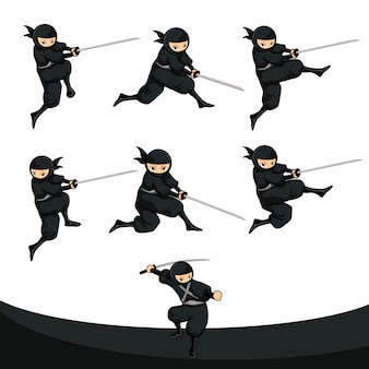 Black cartoon ninja töten und erstechen in realer version