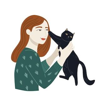 Black cat stößt mit den pfoten ab. junges mädchen, glückliche tierbesitzer. vektor süßes cheracter design. cartoon-abbildung