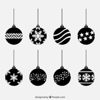 Black christmas balls set
