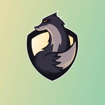 Black fox maskottchen logo design für spiele, esport, youtube, streamer und zucken