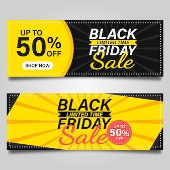 Black friday banner design vorlage auf schwarzem und gelbem hintergrund. vektorillustration