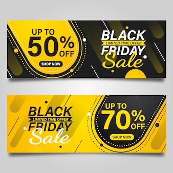 Black friday banner design vorlage auf schwarzen und gelben farben