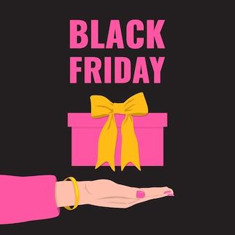 Black friday banner. frauenhand gibt ein rosa geschenk mit gelber schleife.