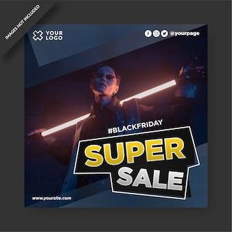 Black friday banner instagram und social media post design Premium Vektoren