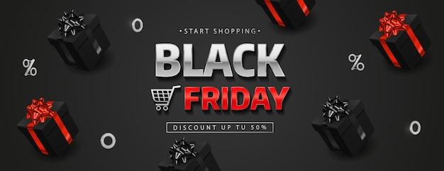 Black friday banner mit realistischen schwarzen geschenkboxen.