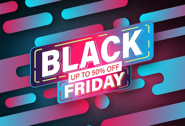 Black friday banner neon design vorlage.