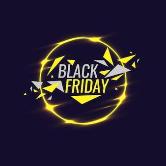 Black friday-banner-originalposter für rabatt geometrische formen und neonglühen