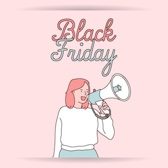 Black friday banner super sale rabatt mädchen mit megaphon verkauf ankündigung