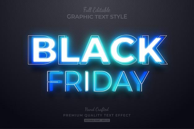 Black friday blue neon bearbeitbarer textstil-effekt