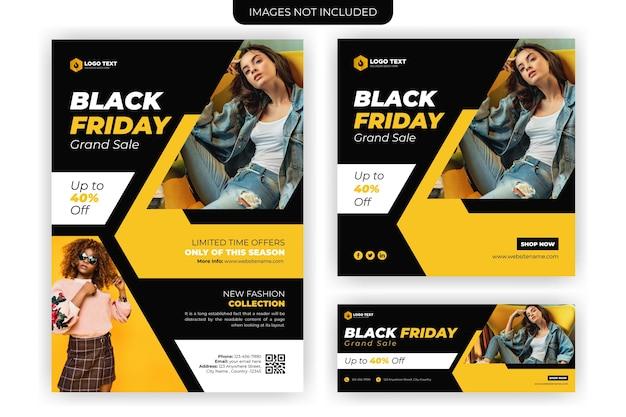Black friday business flyer und social media banner vorlage design