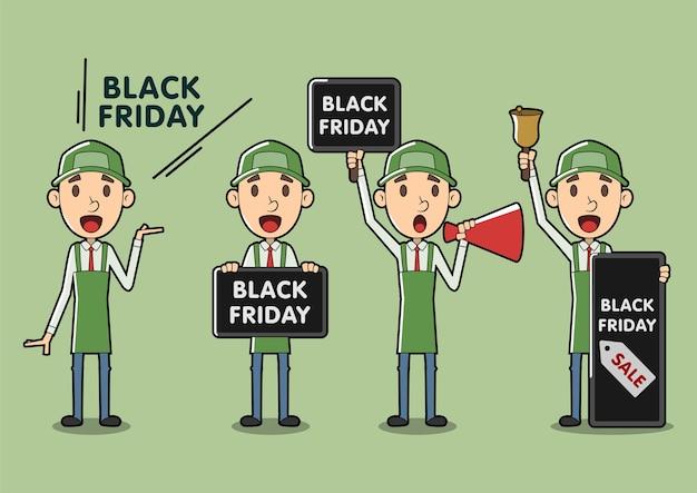 Black friday cartoon verkäufer assistent set