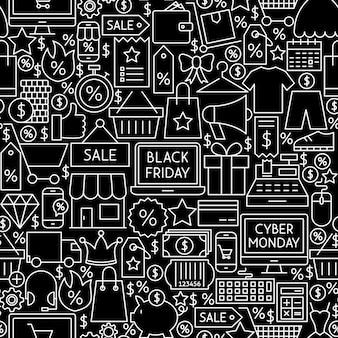 Black friday cyber monday fliesenmuster. vektor-illustration des verkaufs-umriss-hintergrundes.