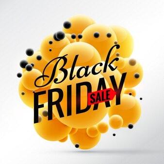 Black friday design mit hellen gelben kugeln hintergrund