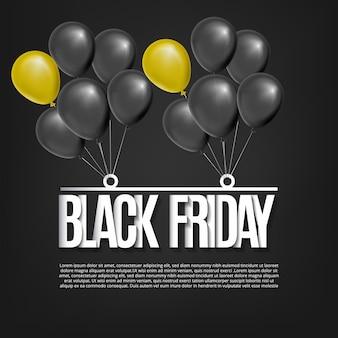 Black friday design mit realistischen ballons