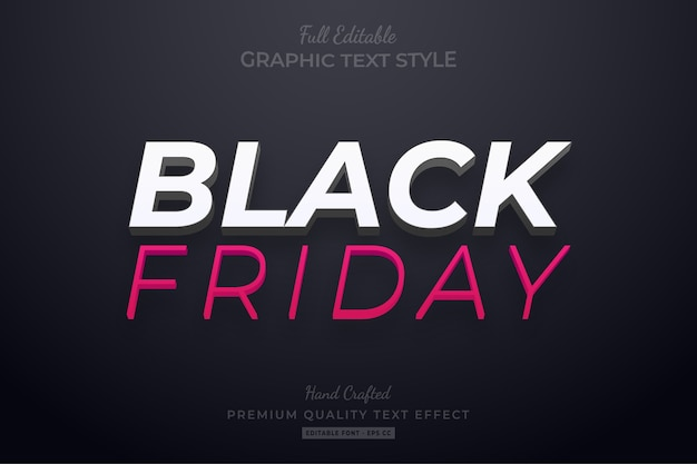 Black friday editable eps text style effekt premium