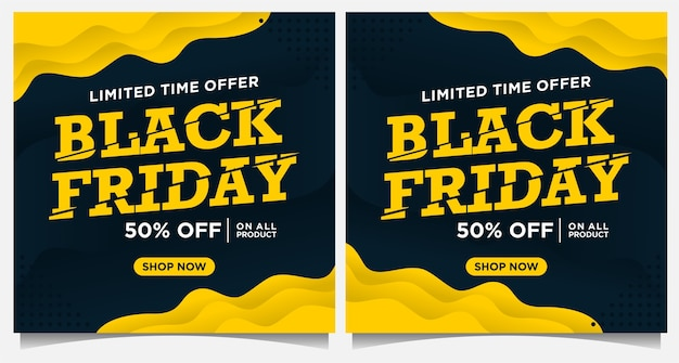 Black friday event banner, social media post und hintergrundvorlage in gelber und schwarzer farbe mit papierschnitt-stil