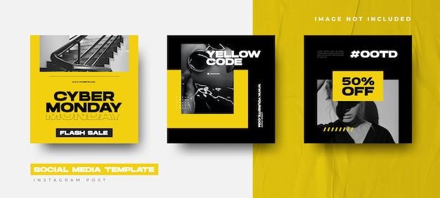 Black friday event instagram post collection design vorlage mit gelber farbe